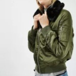 TopShop Faux Fur Collar Bomber Jacket